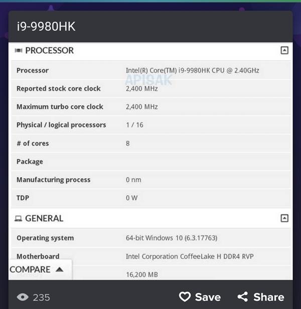 Intel i9-9980HK移动处理器曝光:8核16线程笔记本来也