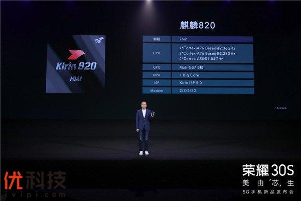 实至名归 麒麟820首发助力荣耀30S档位最强5G手机